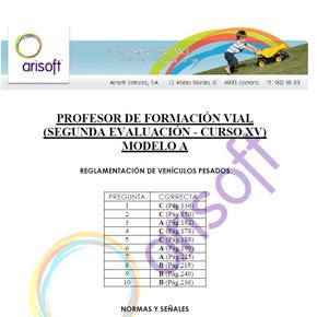 Cuestionario y corrector del MODELO A - Segunda evaluación - Profesor de Formación Vial (examen 18.07.2013)