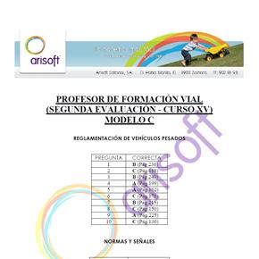 Cuestionario y corrector del MODELO C - Segunda evaluación - Profesor de Formación Vial (examen 18.07.2013)